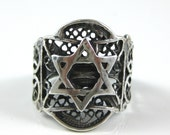 Ring, Size 7.75, Sterling Silver, Vintage, Silver Filigree, Star of David, Silver Star Ring, Signed Stamped 925