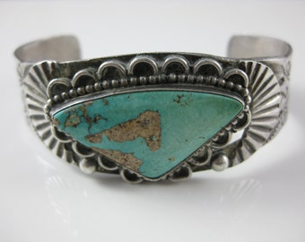 Cuff Bracelet, Navajo, Sterling Silver, Triangle Shape, Genuine Turquoise, Mens Cuff Bracelet, Southwest Jewelry