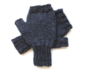 Texting Gloves for Men, Teen Boys, Fingerless Gloves, blue gray gloves, men's mitts, wool gloves, hand knit gloves, hand warmers, size S