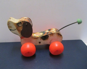 Fisher Price Little Snoopy Wood Toy USA Made 1965 Vintage Pull Toy 1960s Kitsch Wooden Puppy Dog Beagle #693