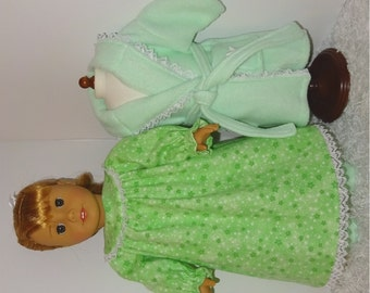 Green Fleece Robe and Slippers with Flannel Nightgown, Fits 18 Inch American Girl Dolls