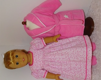 Pink Robe and Slippers with Flannel Nightgown, Fits 18 Inch American Girl Dolls