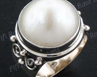 15mm White Mabe Pearl 925 Sterling Silver Sz 7 Ring