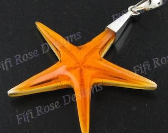 "2 3/16"" Orange Sea Star Starfish 925 Silver Pendant"