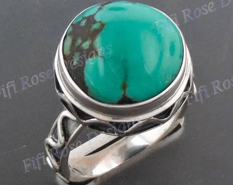 Cool Round Turquoise 925 Sterling Silver Sz 6 Ring