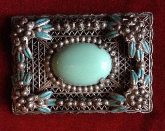 Turquoise antique chabby brooch