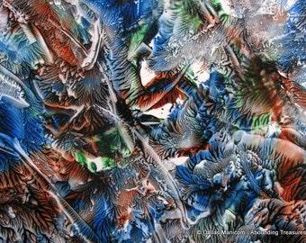 5X7 Blue, Sienna, Brown, Green Encaustic (Wax) Abstract Original Painting / Textured Art / Wall Decor / SFA (Small Format Art)