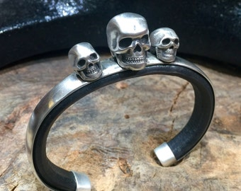 C50 Three Stand Up Guys Skull Sterling  Silver Inlayed on Leather Southwestern Native Style Cuff