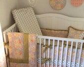 Crib Bedding Set Complete Nursery Peach Gold Ready to Ship
