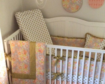 Baby Girl Crib Bedding Set COMPLETE Princess Nursery Peach and Gold Ready to Ship
