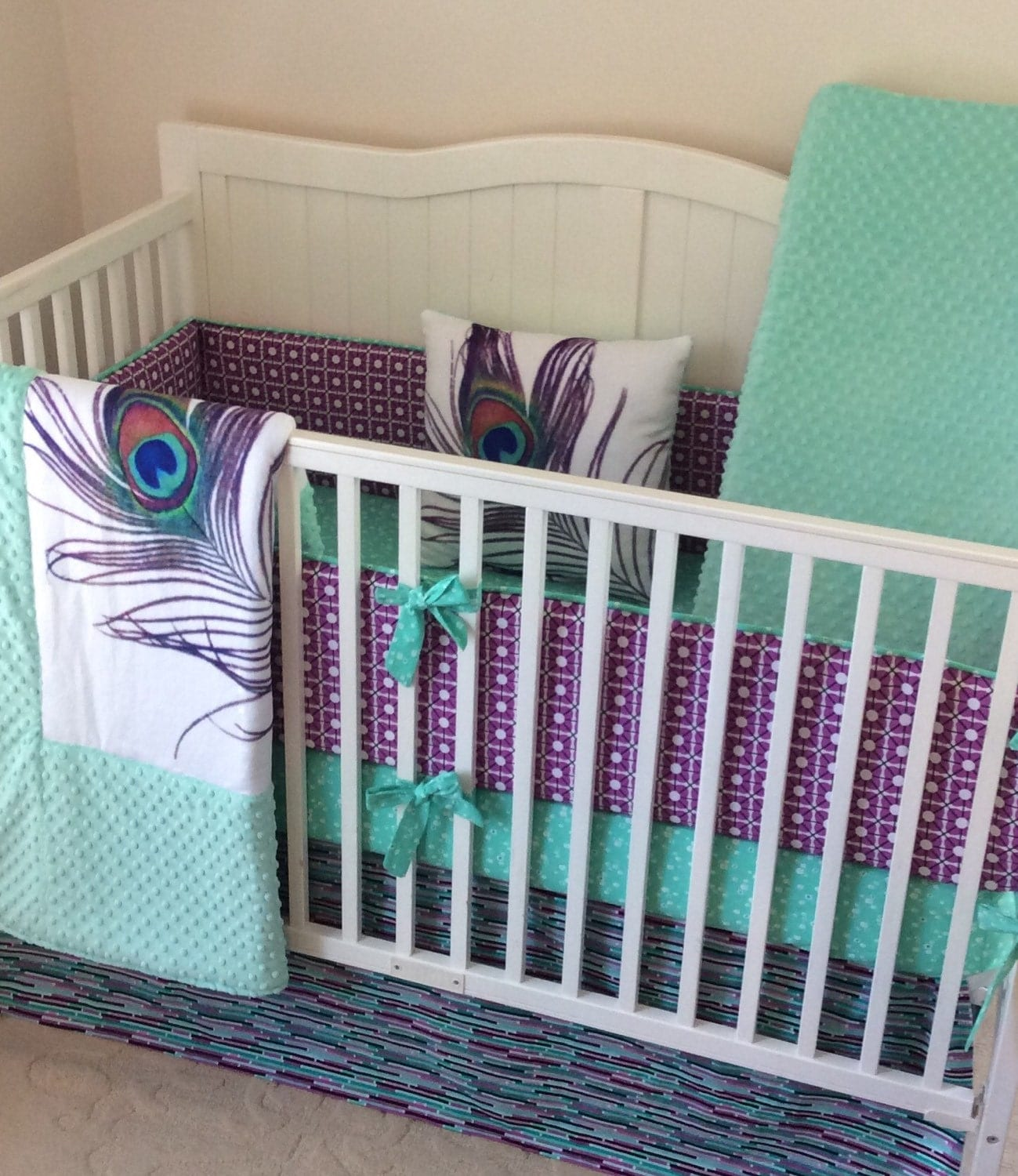 baby girl crib bedding set peacock mint teal purple. Black Bedroom Furniture Sets. Home Design Ideas