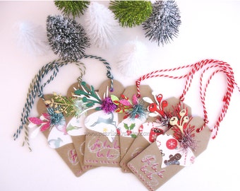 Christmas Holiday Fa La La Gift Tags no 1~set of SIX~kraft brown~white~holly berry red~gold~green~blue~pink~pretty packaging~gift topper