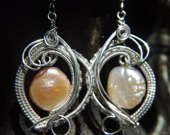 Wire Woven Peach Pearl Earrings