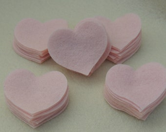 50 XL Felt Die Cut Heart Pieces  Light Pink or any color