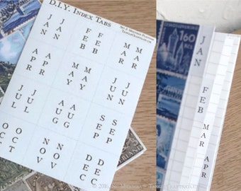 DIY Calendar Tabs - Months of Year Stickers, Make Your Own Birthday Book, Planner, Organiser Bullet Journal Notebook Add-On Accessory Labels
