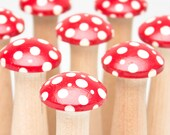 Mushroom Bowling Game - Kinoko Redcaps - Woodland Inspired Bowling Set - IN STOCK