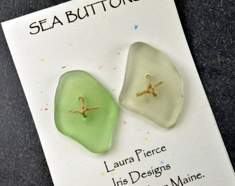 Pair of diamonds  two sea foam green genuine Maine sea glass buttons eco friendly accent for sweaters shawls jackets and jewelry craft
