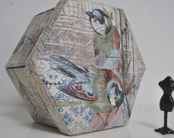Hexagonal Sewing Box - Hand Made Fabric Covered Cartonnage - Mosaic Menagerie