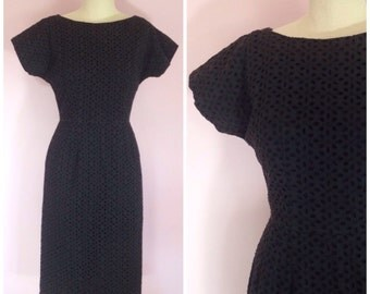 Vintage 1950s Eyelet Black Wiggle Dress/ Small