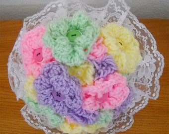Pastel Crocheted Yarn And Button Wedding Flower Bouquet
