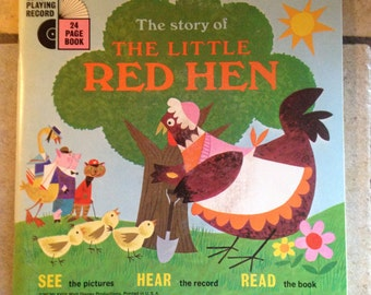 1968 The Story of the Little Red Hen Children's Record and Book by Disney