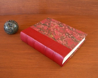 Leather spine photo album - red with French marbled paper  8x10 in. 20.5x24.5 cm.-Ready to ship