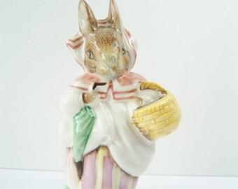 Mrs. Rabbit Shopping Figurine, Beatrix Potter's Collectible, F. Warne & Co. Beswick England, Nursery Decor, Porcelain Figurine