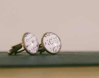 Geeky Math Cufflinks - Equations Arithmetic - Maths Gift For Him - Gift For Husband - Men's Cuff Links - Gift For Dad - Stocking Filler