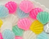 Mermaid Resin Cabochon - 25mm Shimmer Pastel Mermaid Shell Scallop Resin Flatback Cabochons - 6 pc set