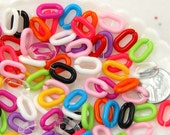 Plastic Chain Links - 15mm Bright Colorful Plastic or Acrylic Chain Links - Mixed Colors - 100 pc set