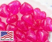 Plastic Heart Beads - 20mm Classic Puffy Heart Acrylic or Resin Beads - Hot Pink Glitter - 24 pcs set