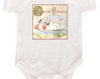 Special Delivery Baby Girl Bodysuit Newborn Creeper Coming Home Outfit by Mumsy Goose Perfect Shower Gift