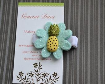 Glitter Pineapple Felt Flower Clip