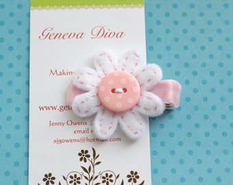 Light Pink and White Polka Dot Felt Flower Clip