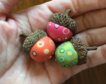 Decorative Acorn Trio - polymer clay/natural acorn tops