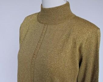 80's Lurex Sweater / Mock Turtle Neck Sweater / Metallic Gold / Medium to Large