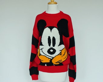 80's / 90's Mickey Mouse Sweater / Bulky Sweater / Slouchy Oversize / Small to Large