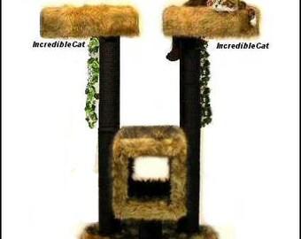CAT TREE FURNITURE 4' High Boulder, Designer Cat Tree, Elegant Cat Condo, Modern Unique Cat Furniture Tree, Custom Cat Boulder 4FTw2BT