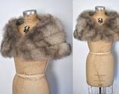 Fox Fur Stole / Silver Capelet / bridal wedding