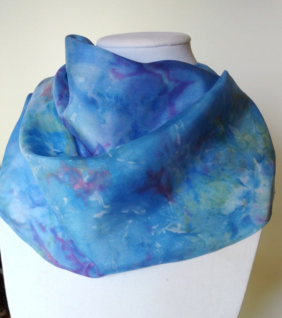 Blue Splash scarf,  multi-colored blue, purple, yellow, silk scarf, women's scarves