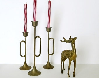 Set of 3 Brass Bugle Candle Holders & Brass Deer Figure Vintage 1970s 80s Christmas Home Decor