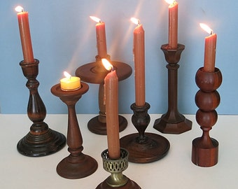 Lot of 5 Wooden Candle Holders Vintage 1970s-80s Turned Stems Repurpose Paint