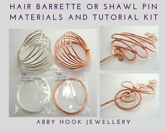 Hair Barrette or Shawl pin Materials and tutorial Kit - Wire jewelry Hair Clip kit