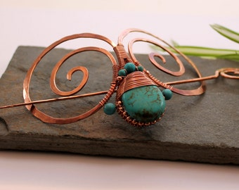 Embellished Double Spiral Hair Barrette - Copper and Turquoise - Hair clip