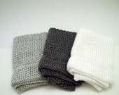 Dishcloths Knit in Cotton in White, Charcoal/Grey/Angel and Mist/Lt Grey/White, Knit Dish Cloth, Knit Wash Cloth, Kitchen, Cotton Dishcloth