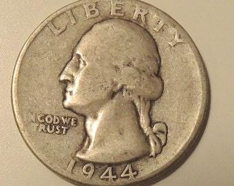 Vintage 1944 Silver Washington Quarter - Antique Quarter, Silver Quarter. USA Coins, FREE Shipping