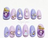Fake nails, pastel goth, unicorn, lilac, lavender, pastel nails, oval nails,