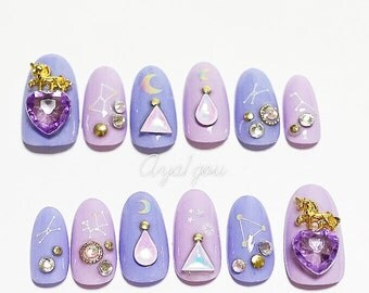 Fake nails, pastel goth, unicorn, lilac, lavender, pastel nails, oval nails,
