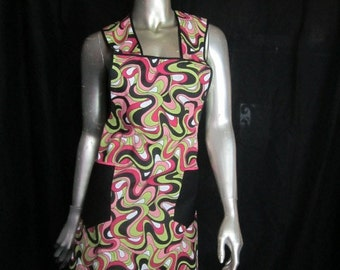 Psychedelic Swirl 1940's Style Apron - Sturdy Cotton Twill Full Apron with Pockets -Pinks, Lime,Black and White Swirl