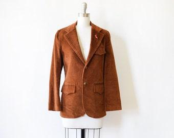 vintage corduroy blazer, 70s brown corduroy jacket, women's medium blazer, men's small blazer